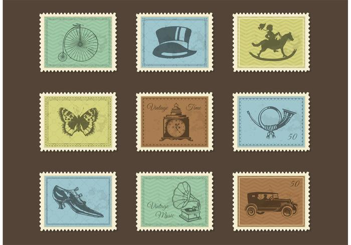 Free Vintage Post Stamps Vector