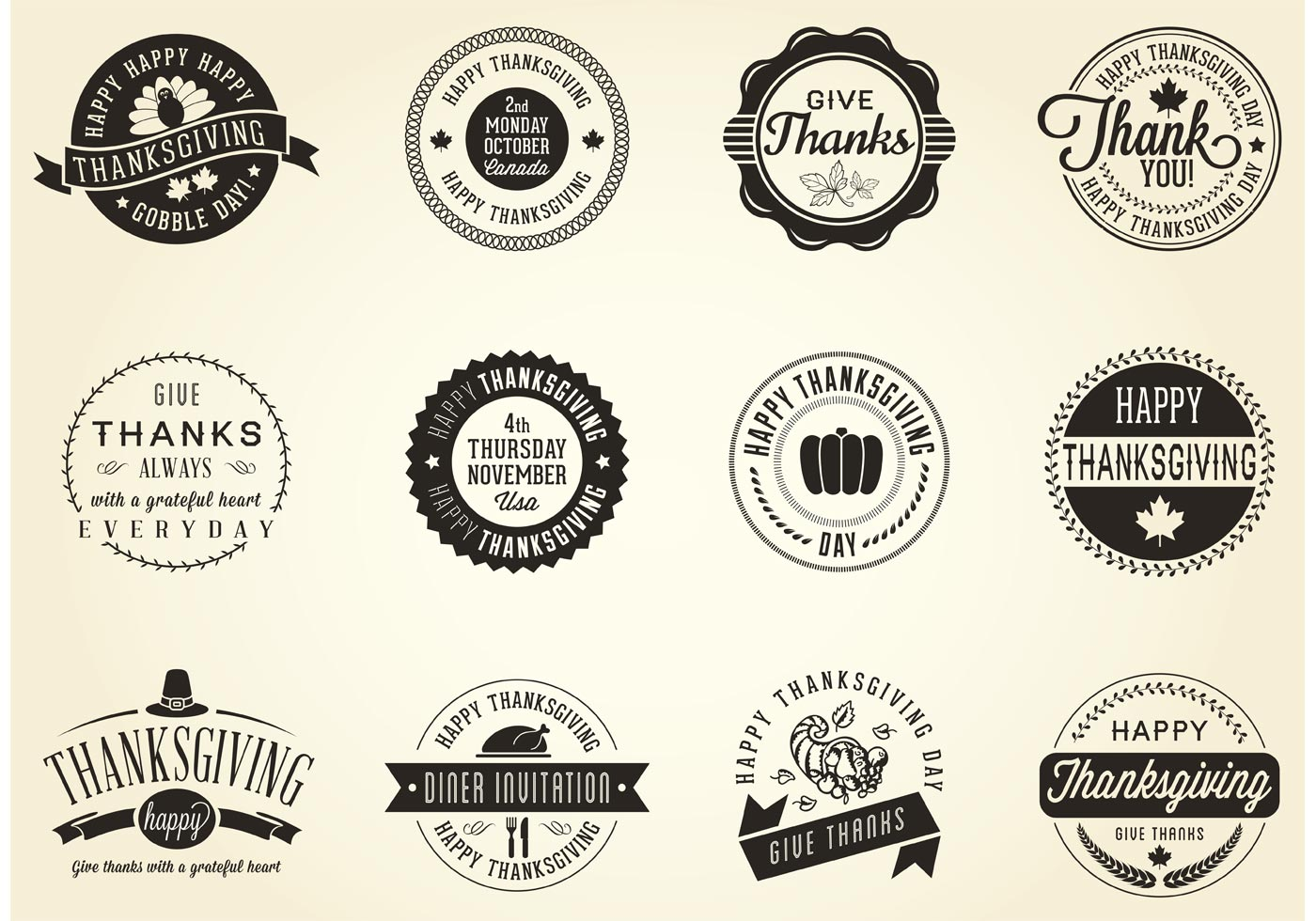Download Free Vector Art Stock: Vector Thanksgiving Badges