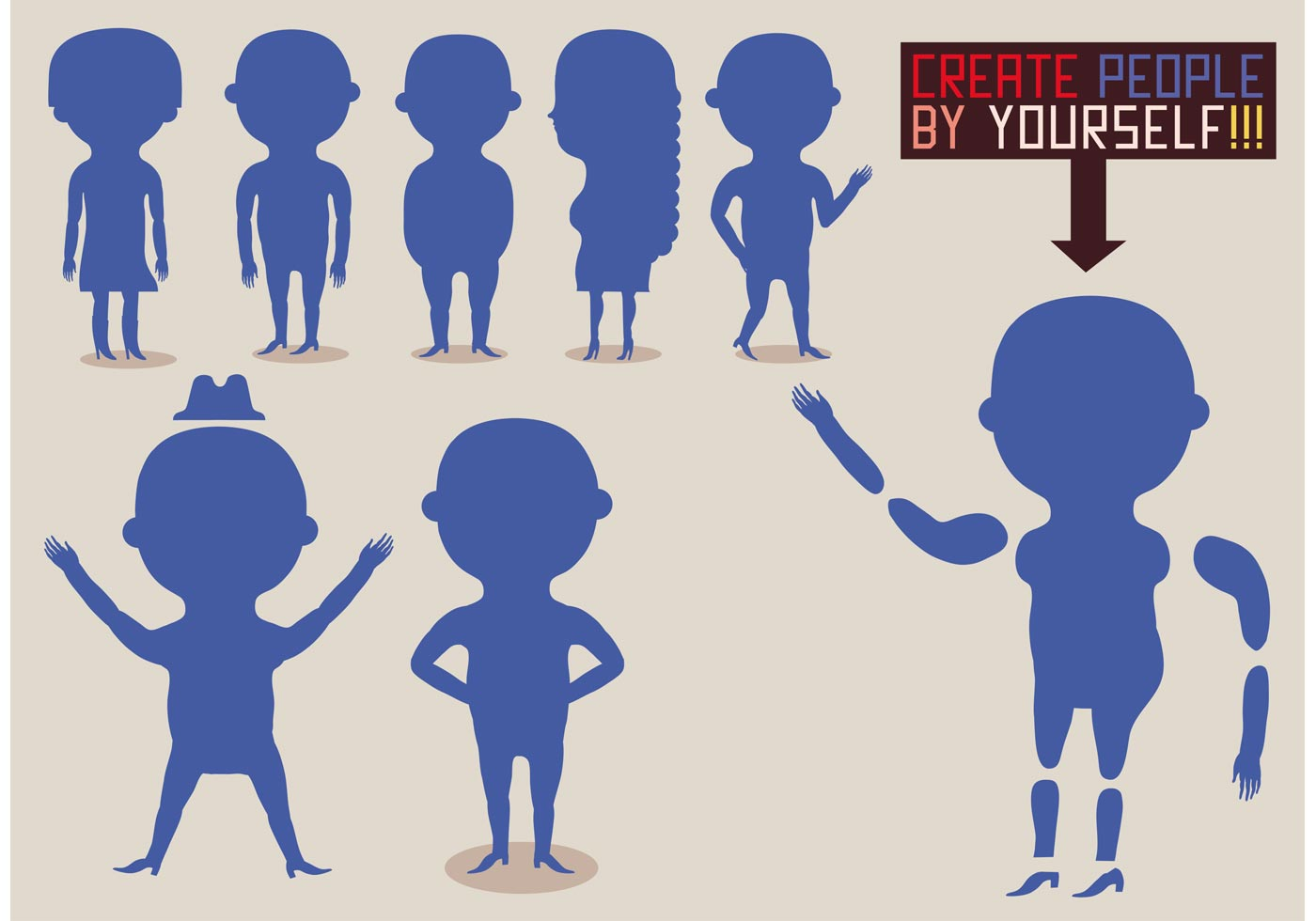 Traveling People Silhouettes Vector Art Graphics: Set Of Flat People Vector Silhouettes