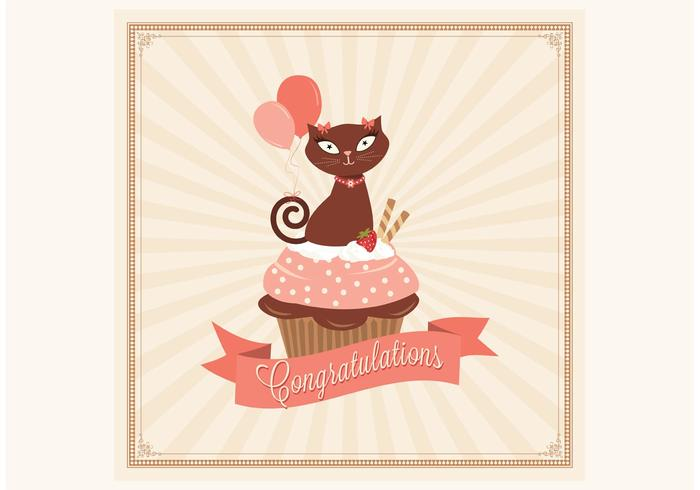 Free Congratulations Cupcake Card Vector