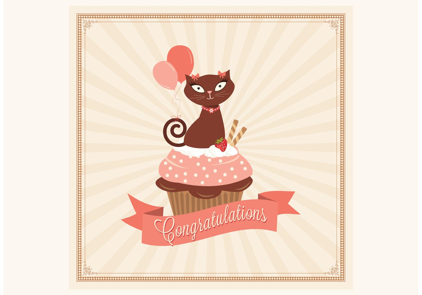 congratulations cupcake card vector