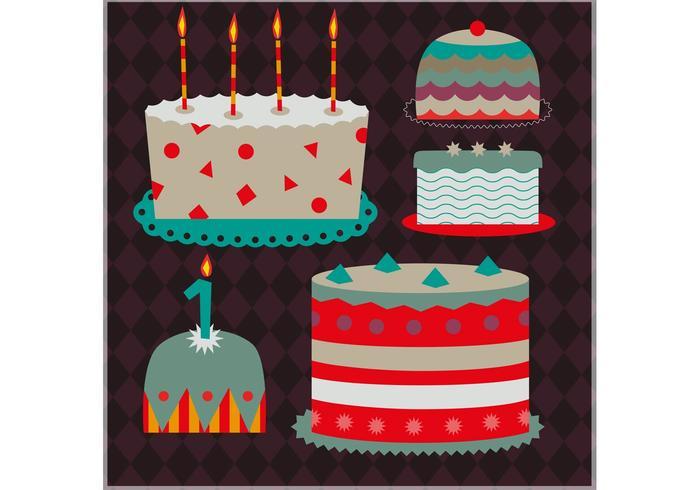 Set von dekorativen Kuchen Vektoren