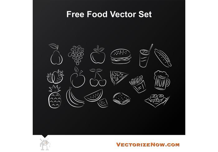 Fruit en Food Vector Icon Drawings