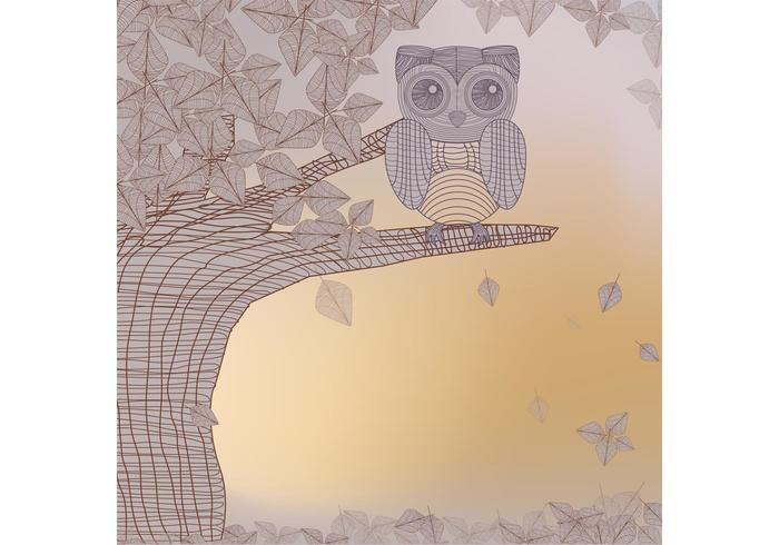 Owl in Tree Vector