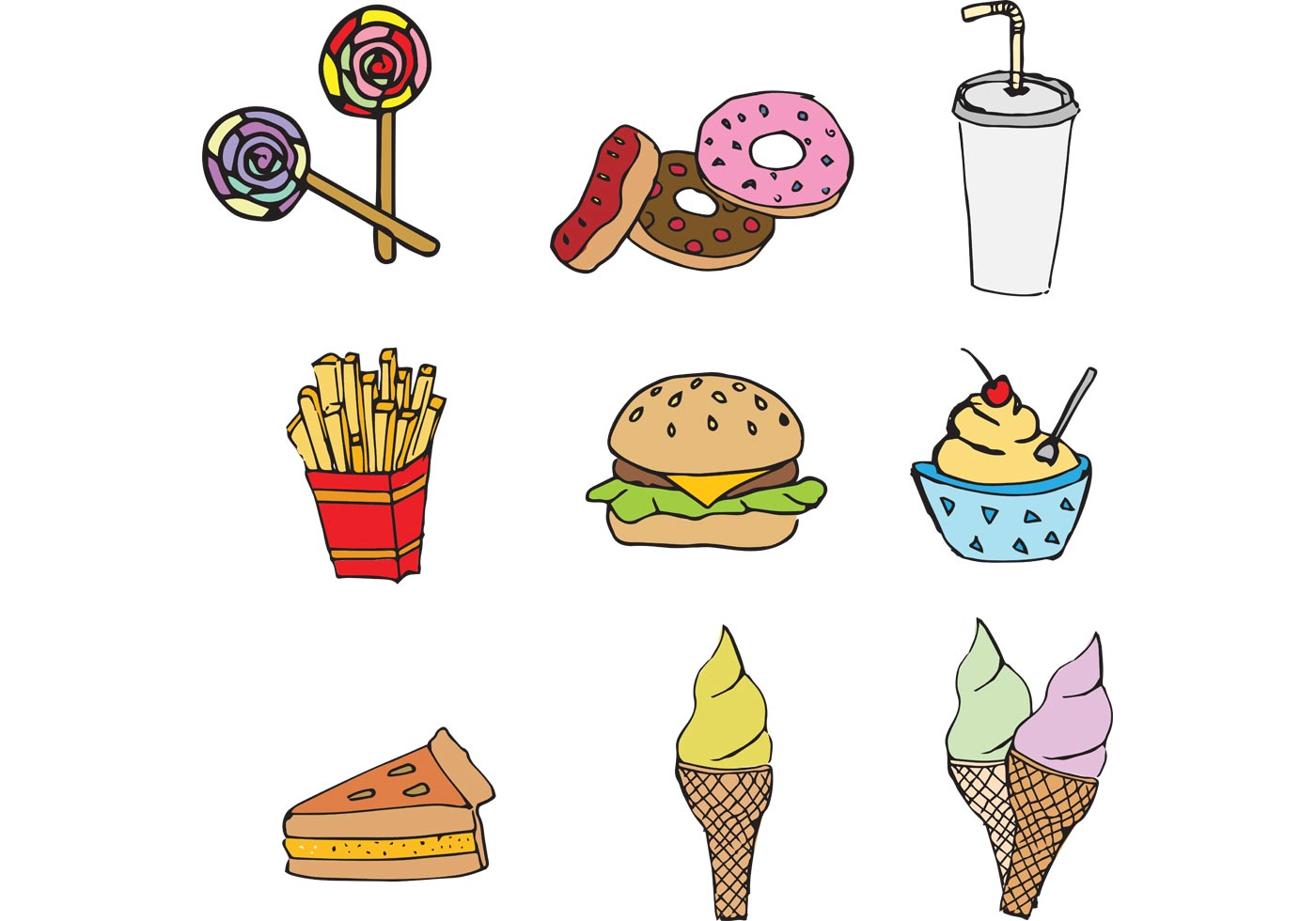 free fast food vector pack  download free vector art