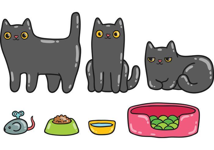 Cute Black Cat Vector Pack