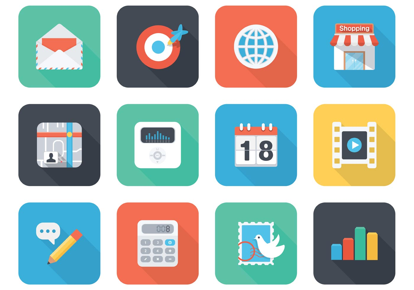 Free Flat App Vector Icons For Mobile And Web Download