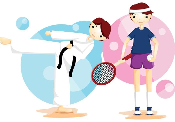 Karate e tennis Sport Vector Boys