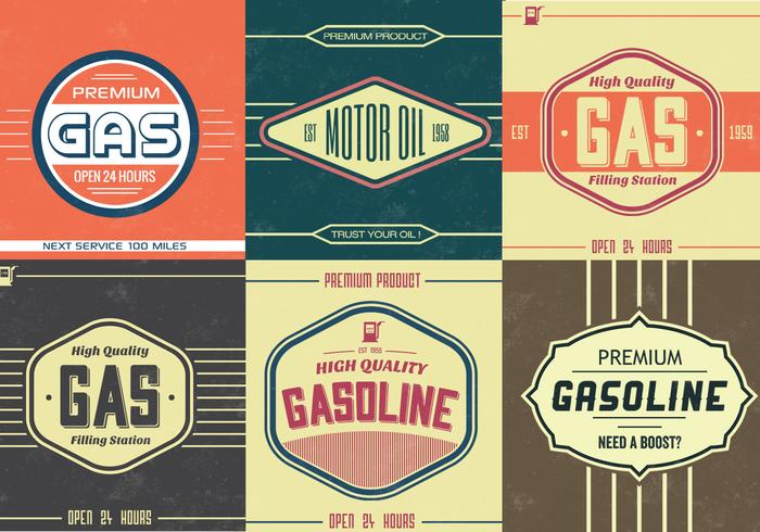 Pacote vetorial do Vintage Gasoline Sign Vector