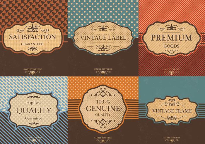 Vintage label vector achtergrondpakket