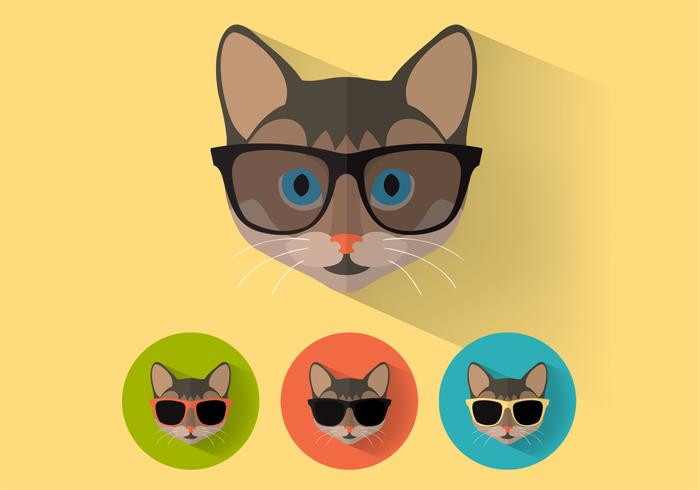Wayfarer Sunglasses Cat Retratos Vector Set