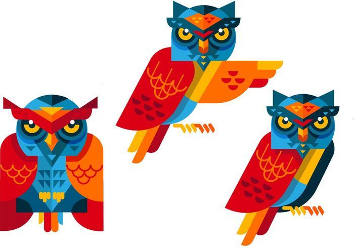 Owls free vector set