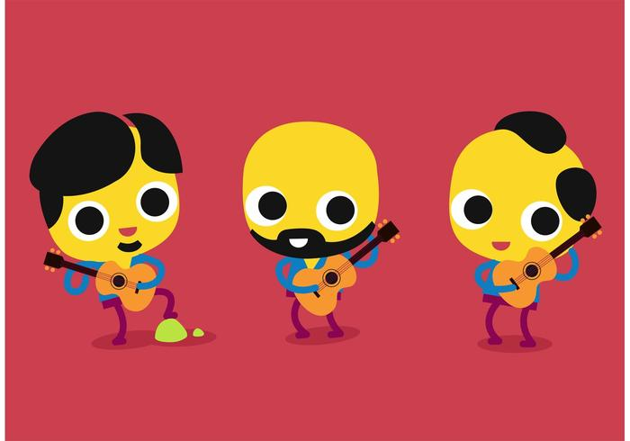 Cartoon Guitar Players Vector Set