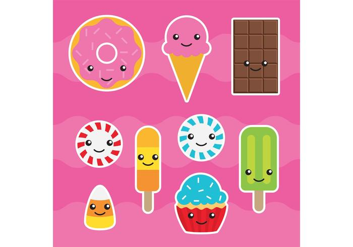 Kawaii candy vectors