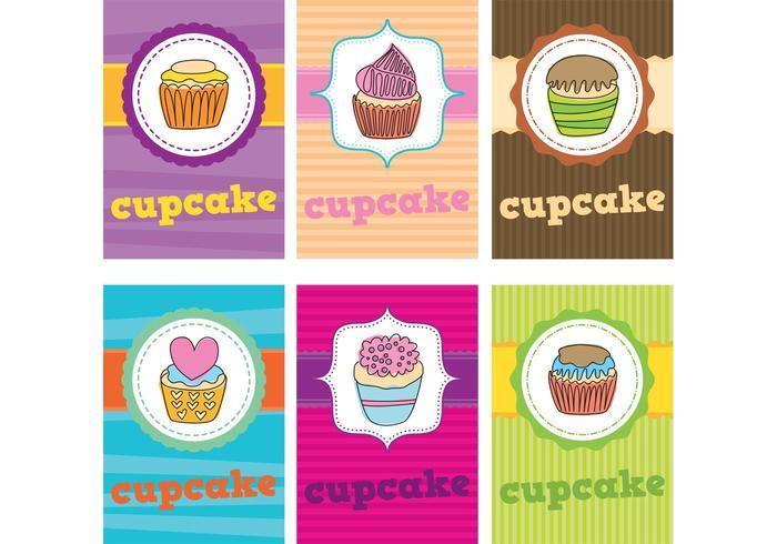 Cartões do vetor do cupcake