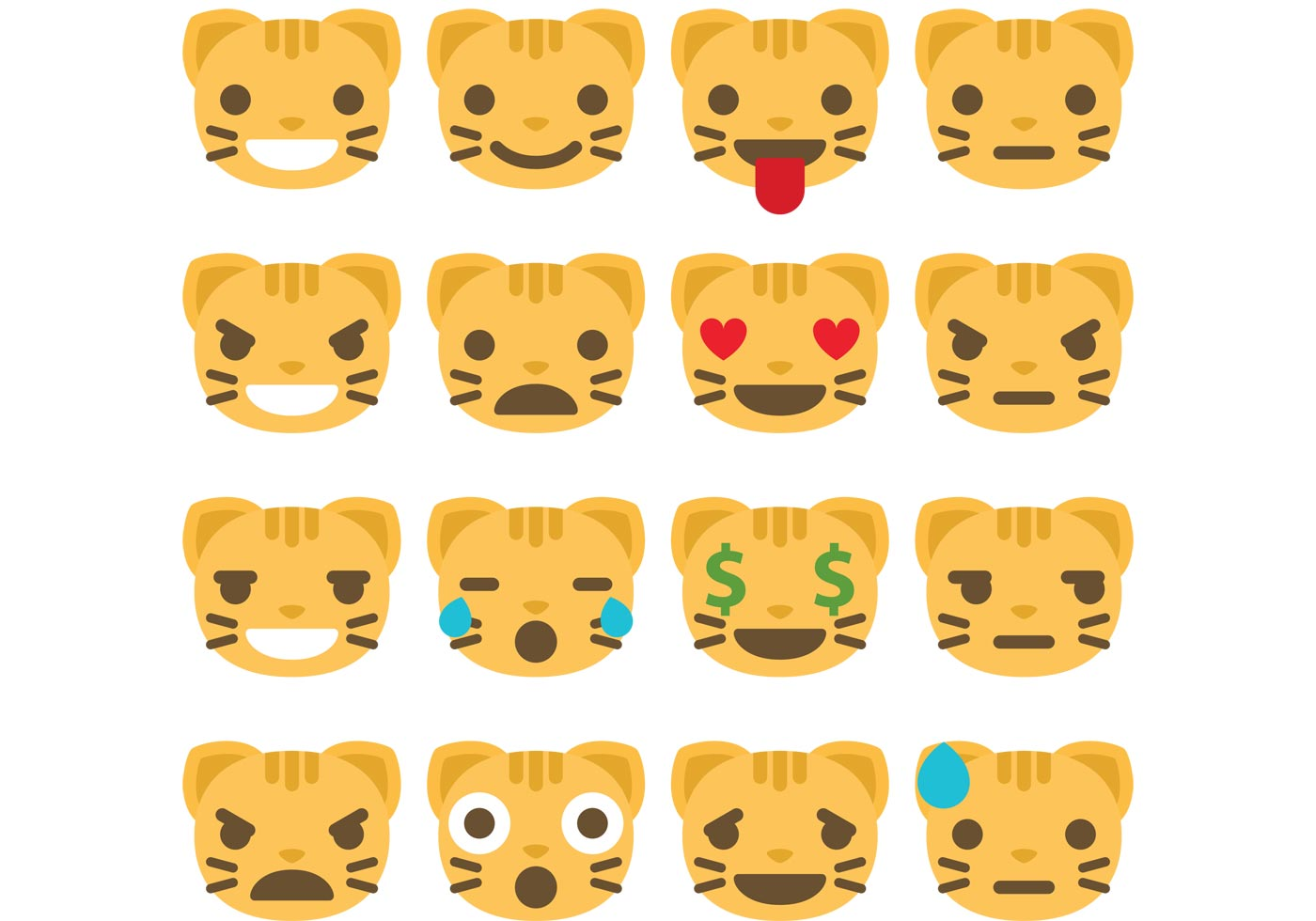 Cat Emoticon Vectors - Download Free Vector Art, Stock Graphics ...