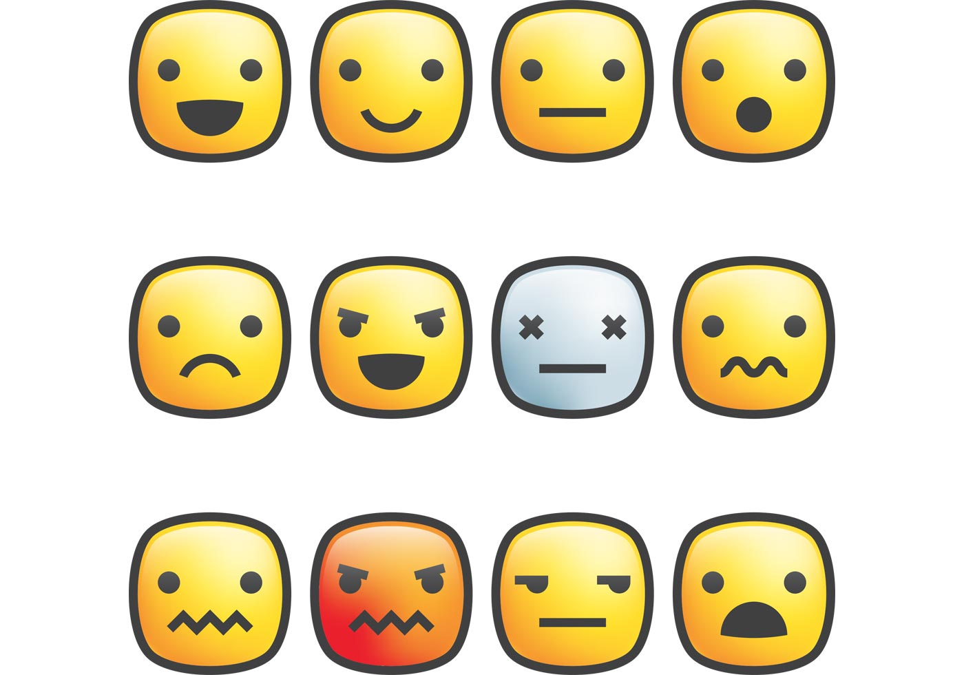Square Emoticon Vectors Stroke Faces Happy Sad Stock