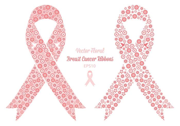 Free Vector Floral Breast Cancer Ribbons