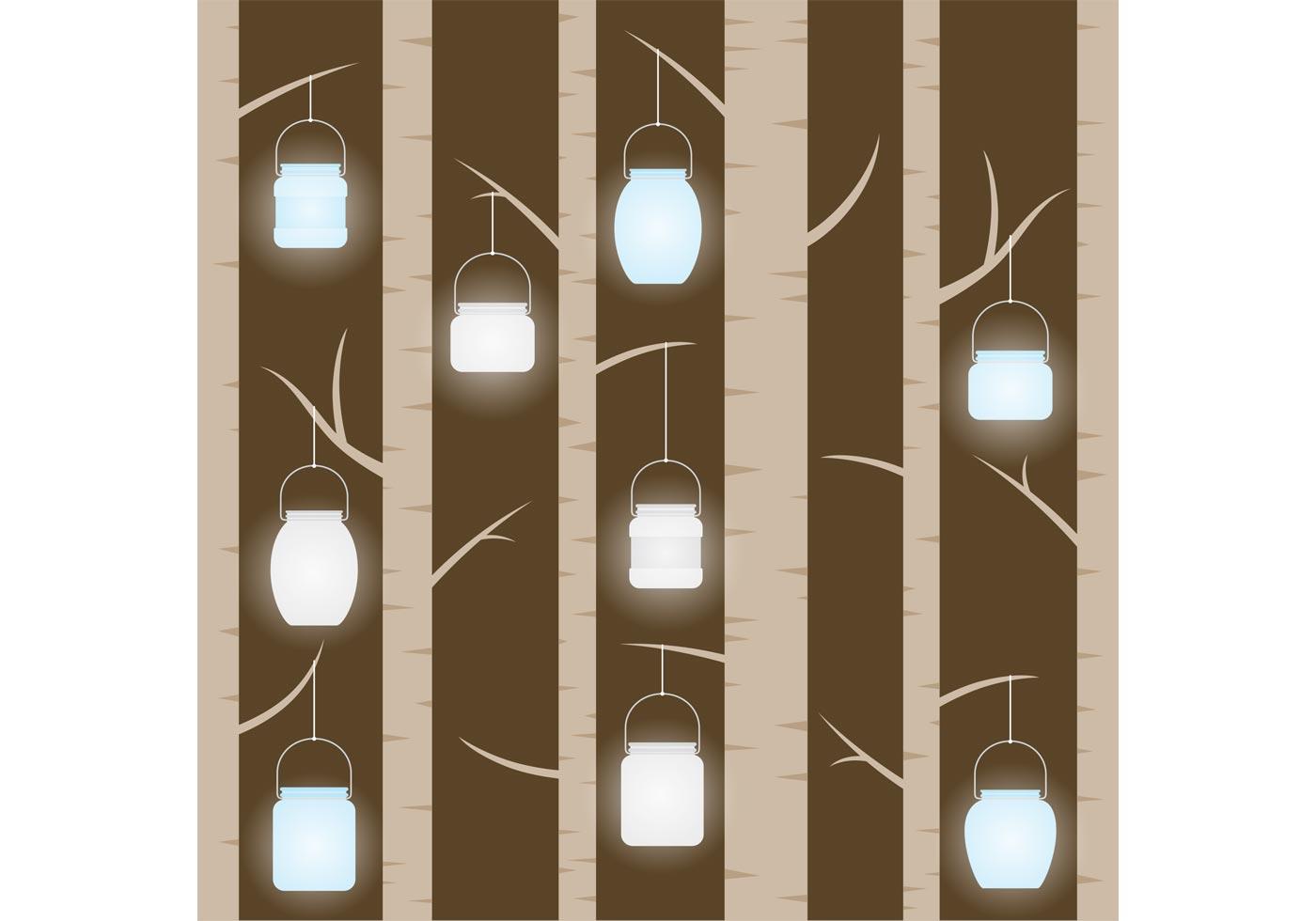 Mason Jar Hanging In Trees Vector