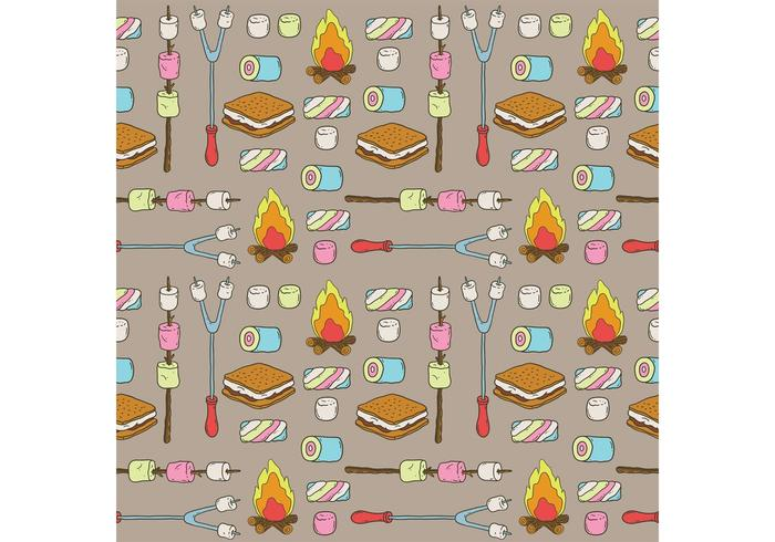 Camp Marshmallows Vector Pattern