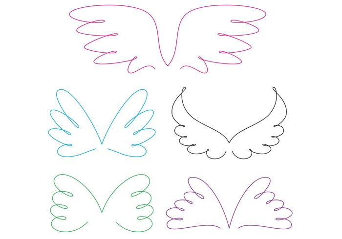 Curly Angel Wing Vectors
