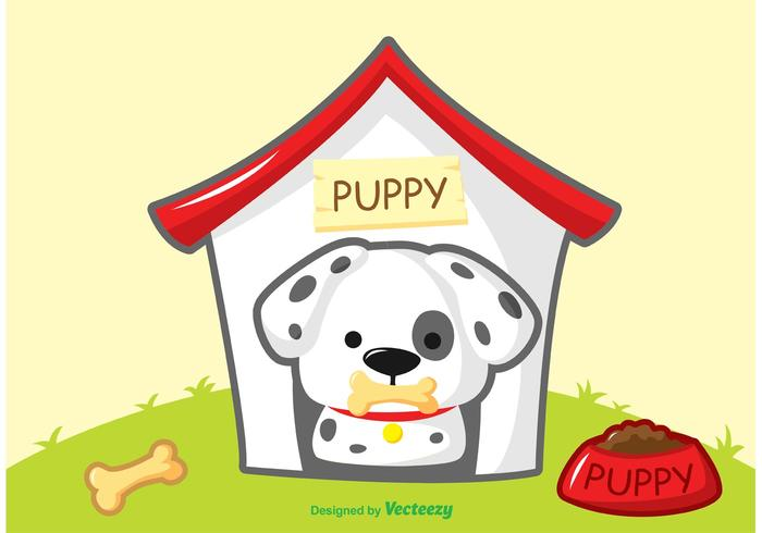 Dalmatian Puppy Vector with House