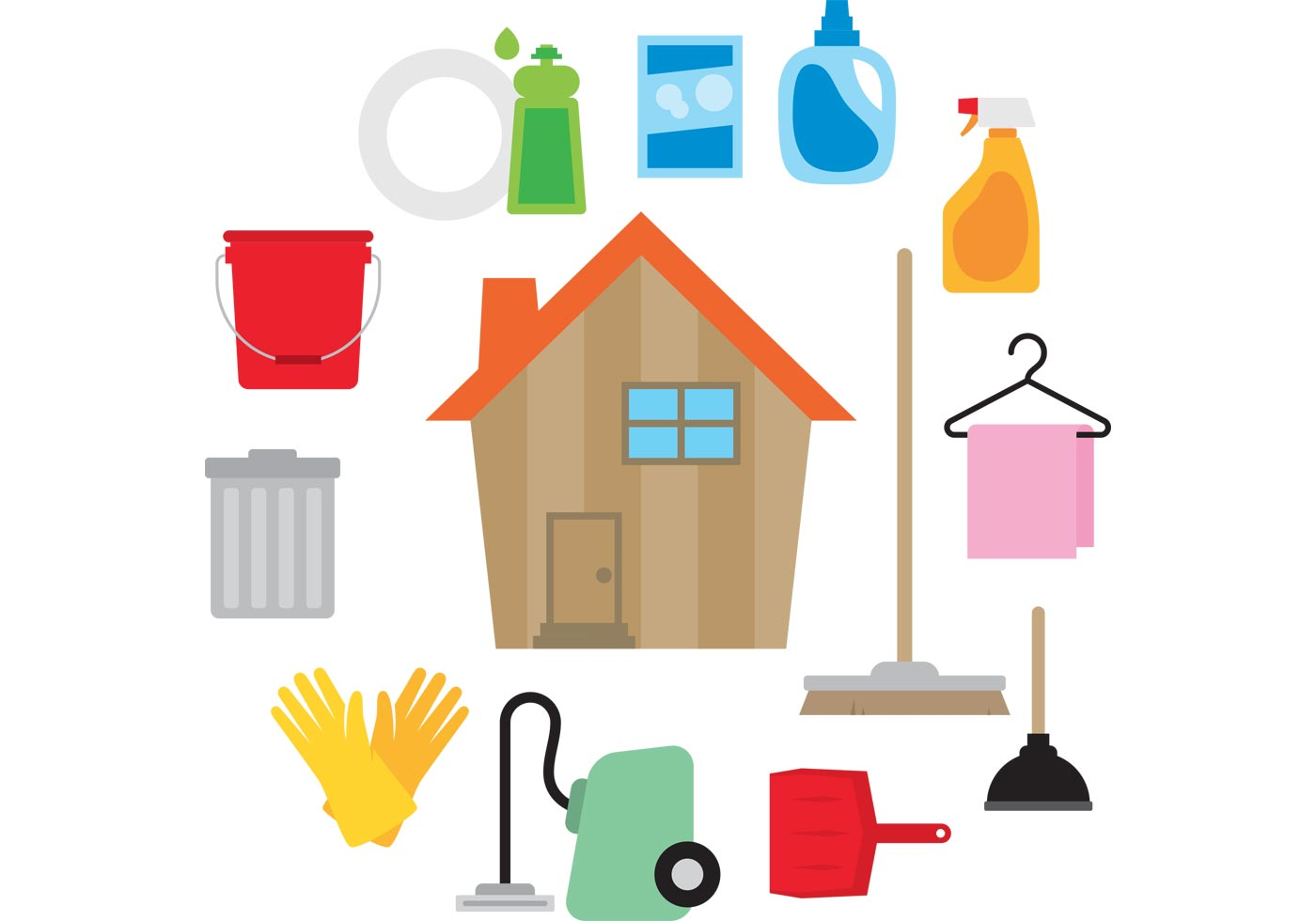 Clean house vector download free vector art stock - Limpieza en casas ...