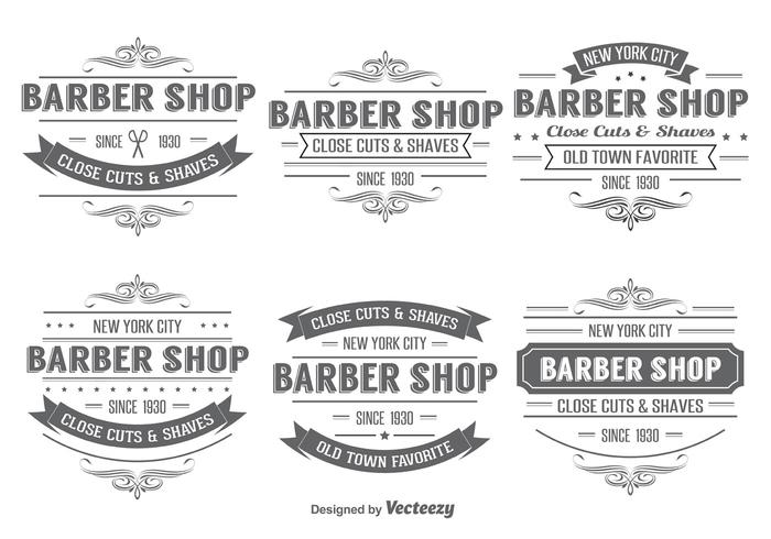 Barber Shop Insignia Label Vectoren
