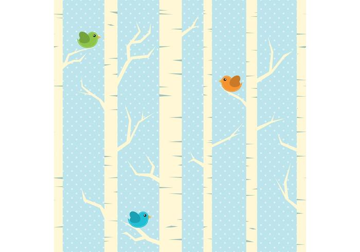Winter Trees Vector Background
