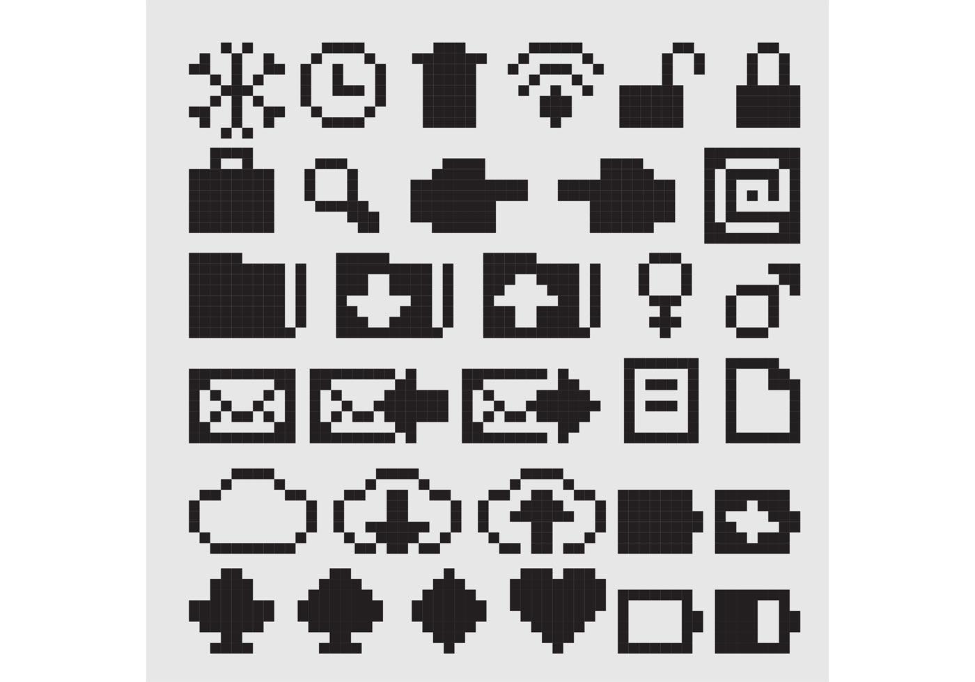 Black 8 Bit Vector Icons - Download Free Vector Art, Stock ...