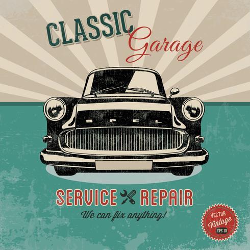 Gratis Vector Bil Service Retro Poster