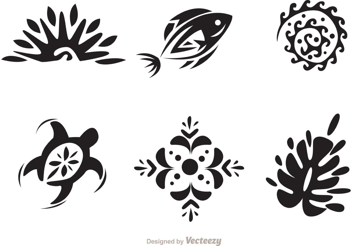 Hawaii Tribal Vectors In Black And White Download Free