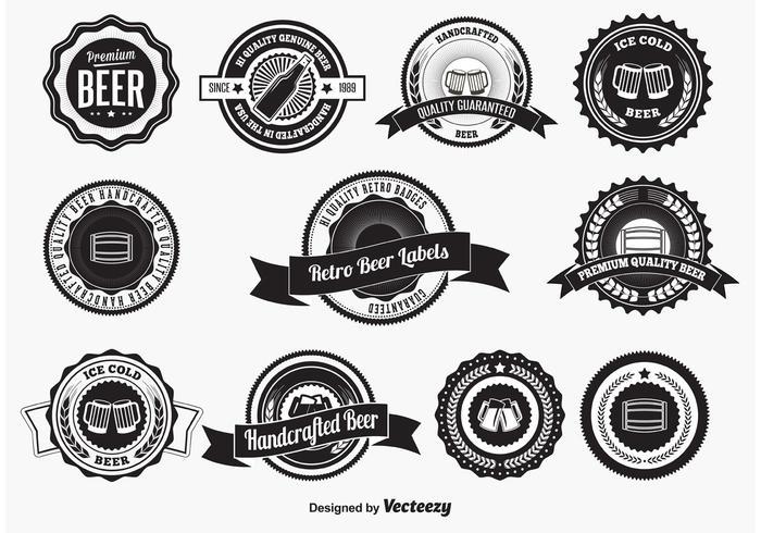 Insignias y etiquetas retras de la cerveza del estilo
