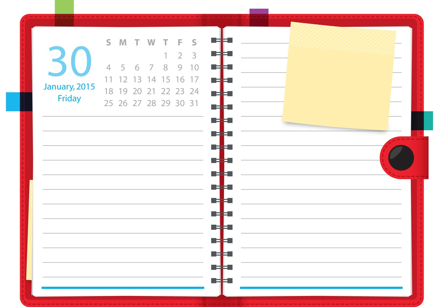 Planner Calendar Notebook Free Download : Daily planner vector notebook download free art