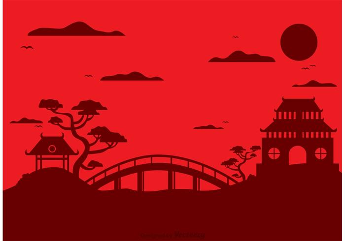 Chinese Temple Landscape Vector Background