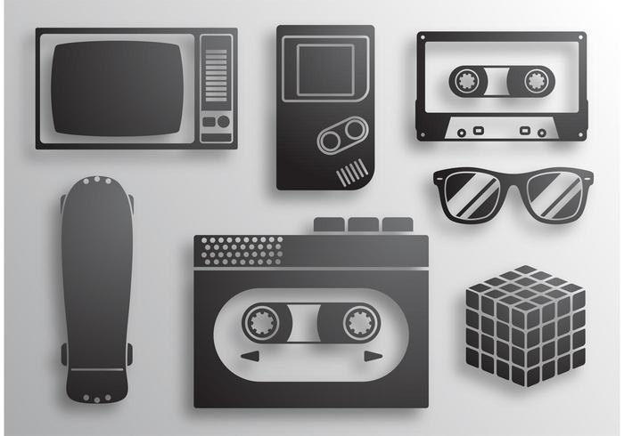Vecteurs d'icônes des années 80 vecteur