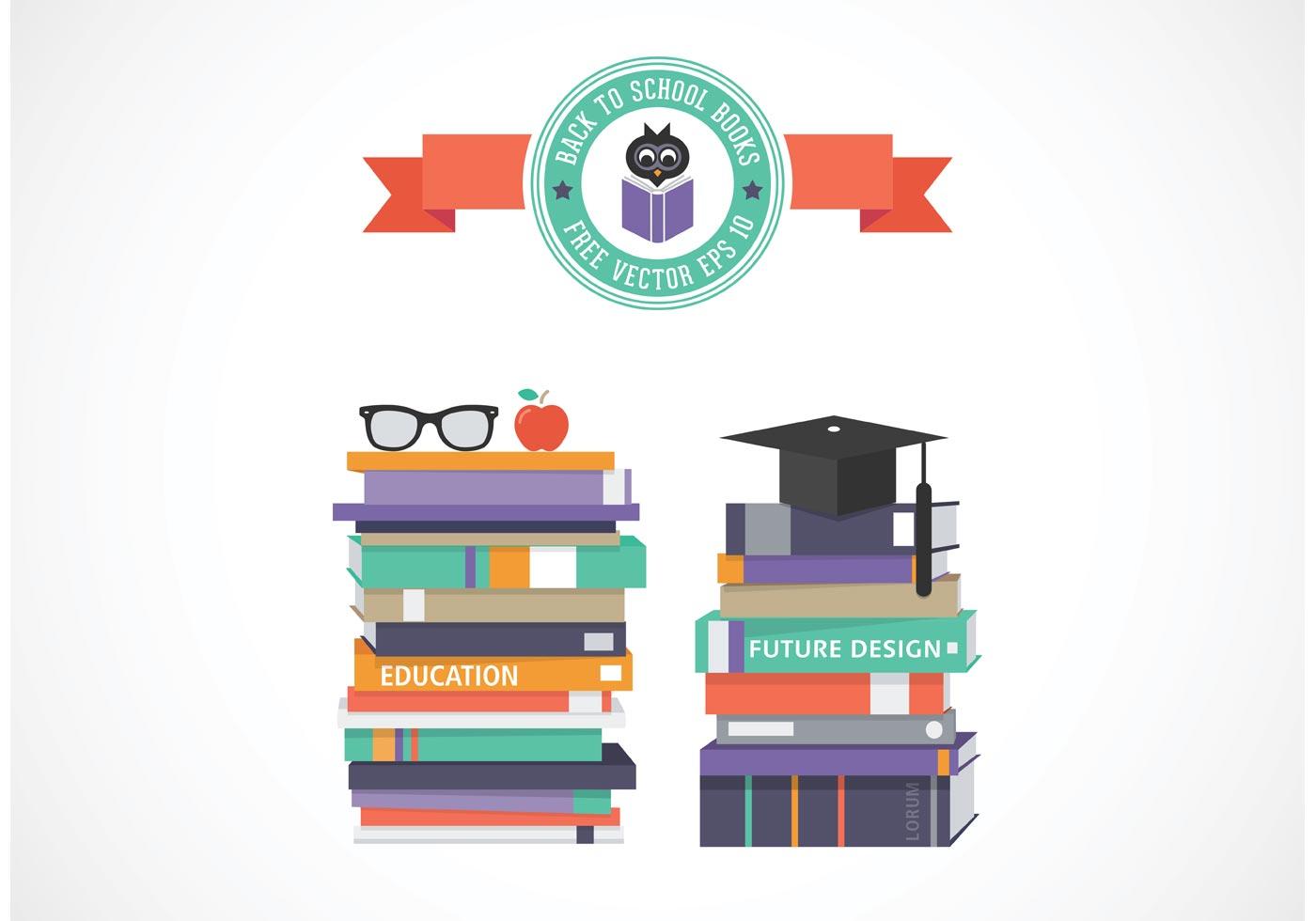 School Book Cover Vector ~ Free vector stack of school books download