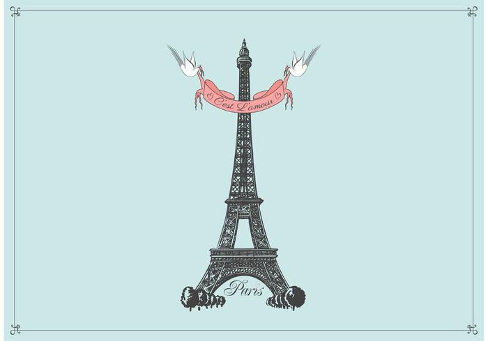 Free Hand Drawn Eiffel Tower Vector Background