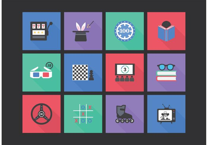 Flat Entertainment Vector Icon Set