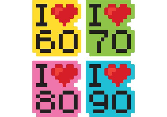 Jag älskar decennierna vektorer