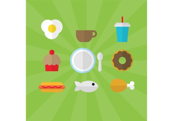 Flache Stil Lebensmittel Vektoren 01