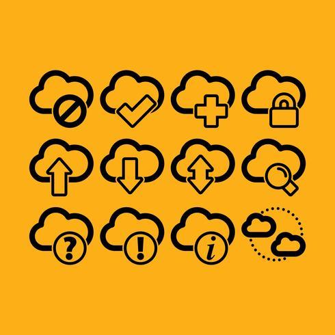 Icônes graphiques vectorielles en nuage