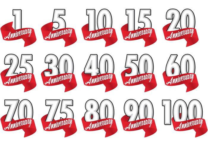 Red Ribbon Anniversary Badge Vectors Download Free Vector Art Stock Graphics Amp Images