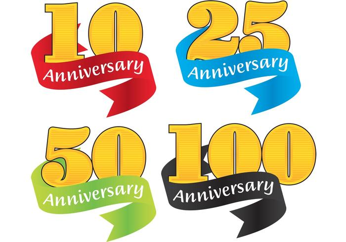 Colorful Ribbon Anniversary Badge Vectors