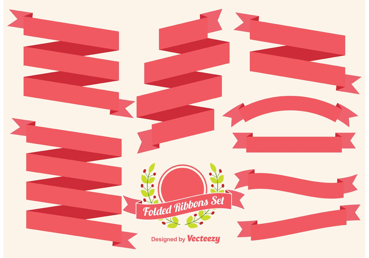 Folded Ribbons Vector Set - Download Free Vector Art ...