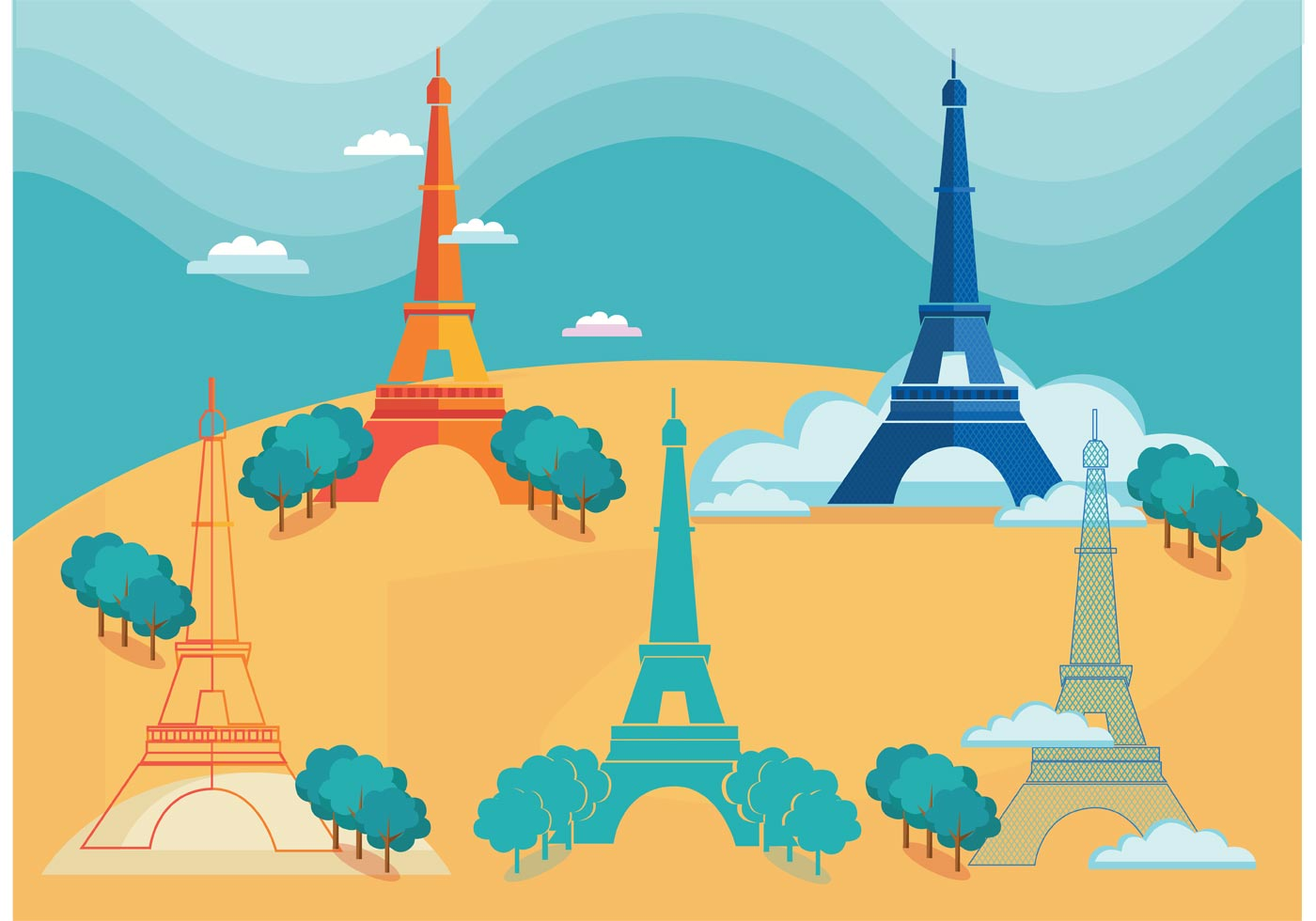 eiffel tower isolated - download free vector art, stock graphics