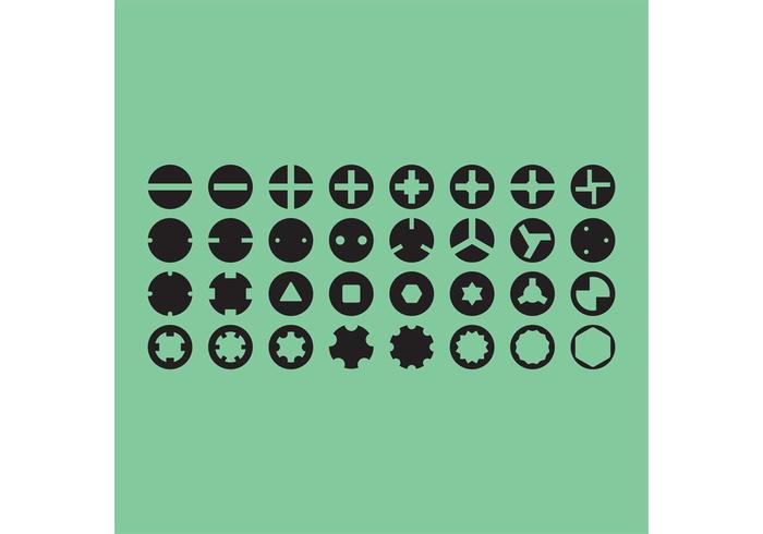 Screw Heads Vector Icons
