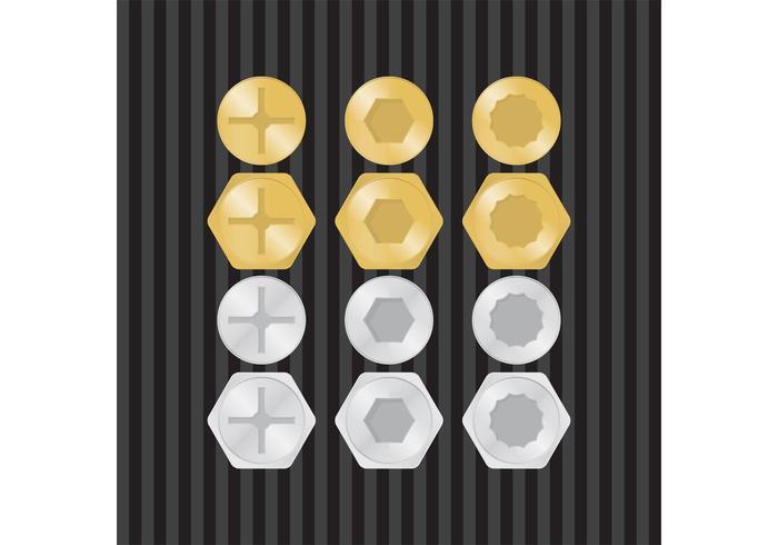 Oro y plata tornillos Vector
