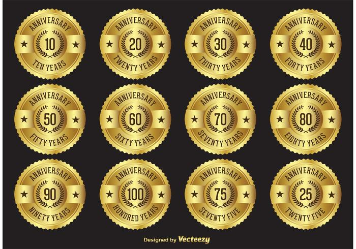 Gold Anniversary Label Badges