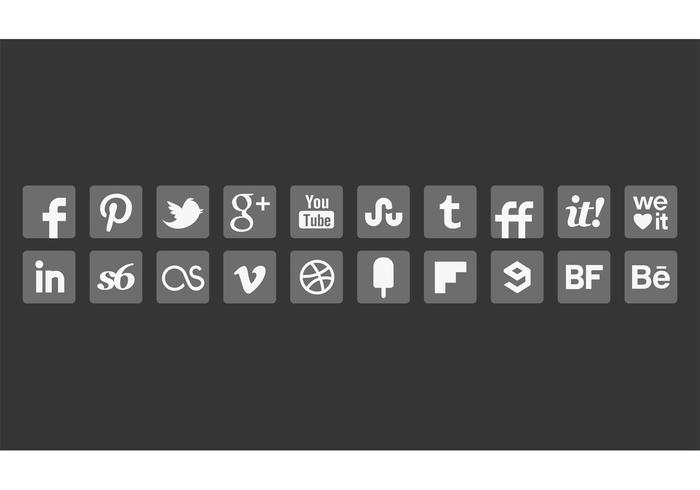 Grey Social Media Icon Vectors